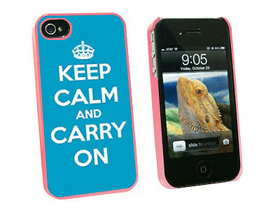 Keep Calm and Carry On Blue - Hard Protective Case for Apple iPhone 4 4S - Pink