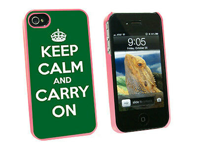 Keep Calm and Carry On Green - Hard Protective Case for Apple iPhone 4 4S - Pink
