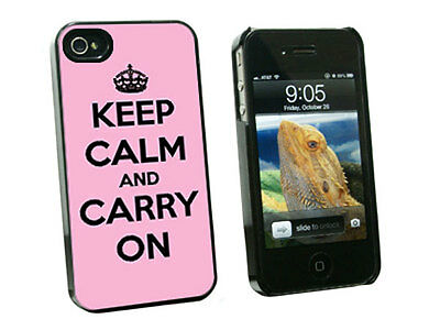 Keep Calm and Carry On Pink - Hard Protective Case for Apple iPhone 4 4S - Black