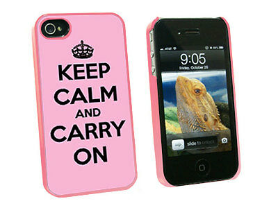Keep Calm and Carry On Pink - Hard Protective Case for Apple iPhone 4 4S - Pink