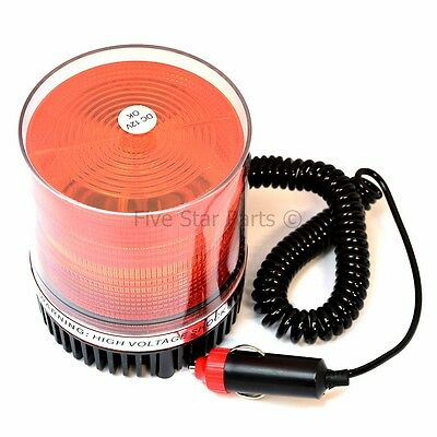12 Volt Magnetic Warning Strobe Light Beacon Orange / Amber, Xenon Recovery. New