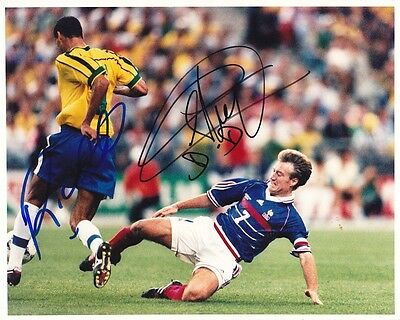 Rivaldo & Didier Deschamps rare World Cup Final 1998 signed 10x8 photo UACC