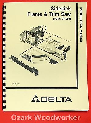 DELTA 33-060 Sidekick Frame & Trim Saw Instructions & Parts Manual 0928