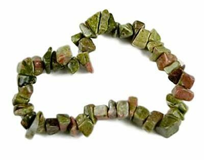 "Natural Unakite Healing Crystal Gemstone 7"" Chip Stretch Bracelet"
