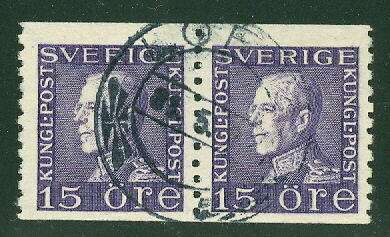 SWEDEN #189 15ore violet, WMK WAVY LINE used pair w/full cancel
