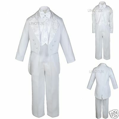 Baby Child & Boys Wedding Communion Recital Formal Party Tuxedo Suits White S-20