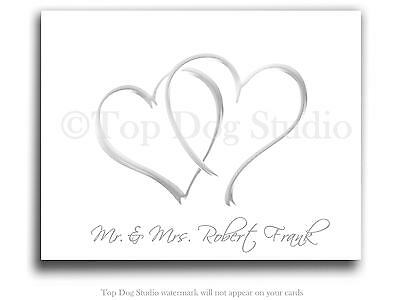 BEAUTIFUL Personalized Double Heart Wedding Bridal Thank You Note Cards