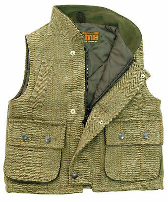 Game Fife Kids Tweed Gilet - Sage