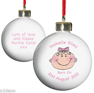 New Personalised Baby Girl My First Christmas Keepsake Bauble Tree Decoration