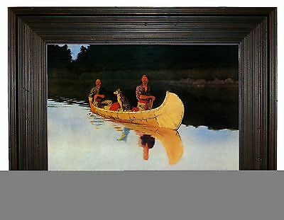 Frederic Remington An Evening on a Canadian Lake - Rustic Brown Framed Canvas S