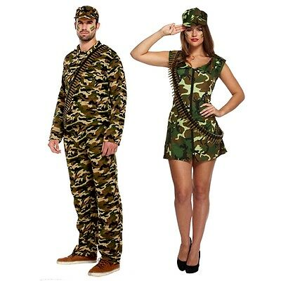 New Womens Mens Army Man Army Lady Camouflage Costume Soldier Fancy Dress Outfit