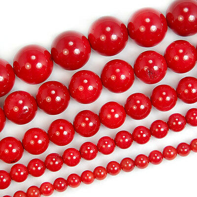 2mm 3mm 4mm 5mm 6mm 7mm 8mm 9mm 10mm Natural Red Coral Round Spacer Beads 15.5""
