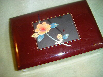 MUSIC JEWELRY BOX  SILVER & BLUE METALLIC FLOWER  red LACQUER WOOD LARA'S THEME