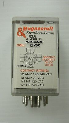 New Magnecraft Plug In Relay, 750XCXM4L-12VDC Coil, (LOT OF 4) $9.99each
