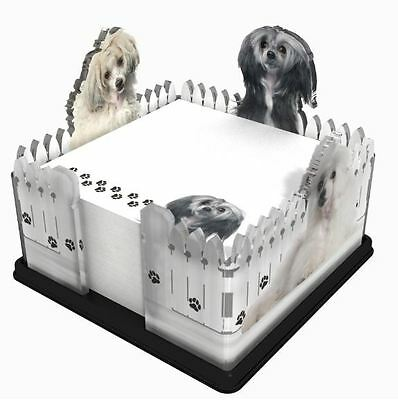 Chinese Crested Powder Note Pad Holder W/ Sticky Notes Post It Memo Acrylic Gift