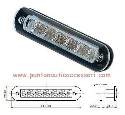 "Plafoniera   ""strip 1""  6 Led 12V Misure 140X29Mm Incasso 15X107Mm Altezza 215Mm"