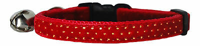 santa red & gold polka dots velvet safety kitten cat collar