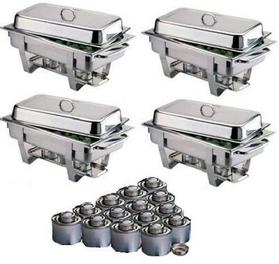 Four Olympia Chafing Dishes And 24 Tins Of 4 Hour Fuel *Free Next Day Delivery*
