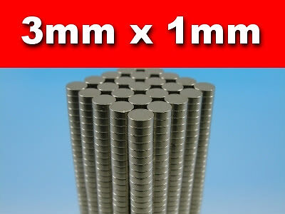 150 x Disc Rare Earth Neodymium Magnets N50 3mm x 1mm