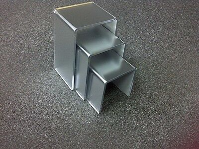 3 Frosted Silver Mirror Acrylic Display Stand Risers Jewellery Display