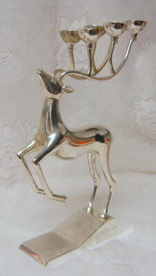 Vintage Godinger Silver Reindeer Candelabra Candle Holder HOLIDAY DISPLAY Light