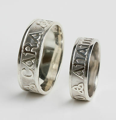 Pair Set Irish Handcrafted .925 Sterling Silver Mo Anam Cara My Soul Mate Rings