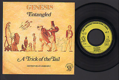 """7"""" Genesis Entangled / A Trick Of The Tail Original France Gratuit Stamp On Back"""
