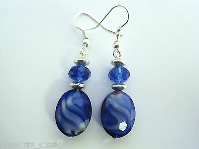 *FACETED CRYSTAL GLASS OVAL MILLEFIORI* Earrings Xmas Gift Blue Purple Red Green