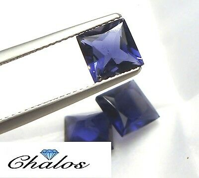 1x Iolithe/Cordierit -  princess facettiert  Neonblau ct. 7x7mm  (IO018)
