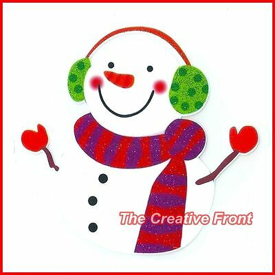 HAPPY WARM CHRISTMAS SNOWMAN - DIY Iron On Glitter T-Shirt Heat Transfer - NEW