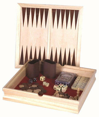 WOODEN WOOD CHESS CHECKERS BACKGAMMON DOMINIO GAME SET WITH BUILT-IN STORAGE BOX