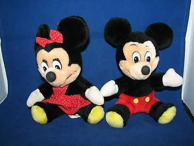 "VTG Disneyland Disney World Parks Plush Stuffed Mickey & Minnie Mouse 8"" Sitting"