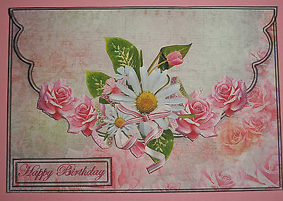 Handmade Greeting Card Envelope Style 3D With Daisies And Roses