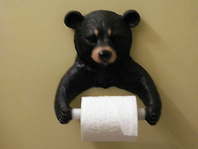 New Black Bear Wildlife Toilet Paper Holder Wall Mount Hanging Decoration Cute