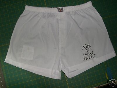 PERSONALIZED BOXERS GROOM WHITE WEDDING GIFT Cotton/Poly SIZE 34-36 HIGH QUALITY