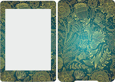 2013 Kindle Paperwhite Skin Cover Vinyl Sticker Blue and Gold KP8