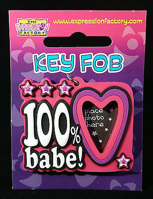Girlfriend 100% Babe Birthday Gift Key Fob Photo Frame Stocking Filler Xmas