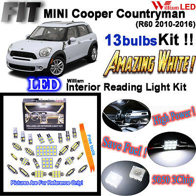 13 Lights SMD MINI Countryman (crossover) R60 Cooper S LED Interior Light Kit