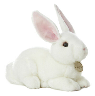 Miyoni Realistic 10 inch White Laying Easter Bunny Life Like Extra detailed face