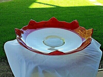 "Red And Frosted White Pointed Edge Console Bowl  with Gold Flowers 12"" Across"