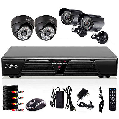 4 CH Digital Video Recorder Outdoor Day Night Security Network Camera System
