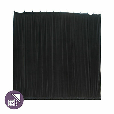 Bravo 3M X 3M Black Cotton Velvet Stage Curtain - Gathered _ 33A