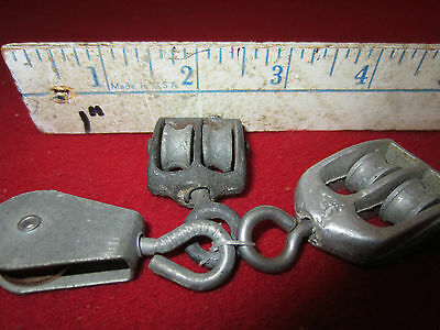 Maritime, Mini, Boat Rigging Pulleys Set Of 3