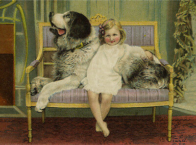 PYRENEAN MOUNTAIN DOG AND CUTE LITTLE GIRL CHARMING PRINT MOUNTED READY TO FRAME