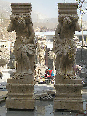 Pair of Hand Carved Travertine Male Figural Columns 106""