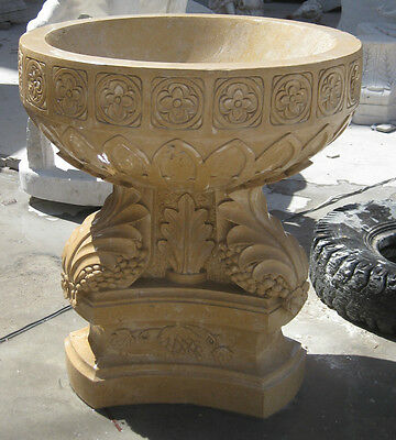 Set of 2 Hand Carved Henan Yellow Marble Planter