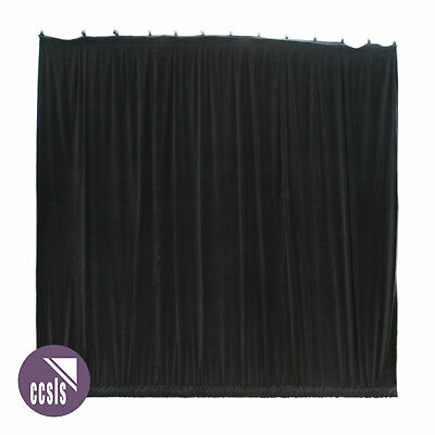 Bravo 4M X 4M Black Cotton Velvet Stage Curtain - Gathered _ 44A