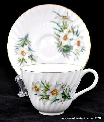 Crown Staffordshire China England Narcissus Paperwhite Daffodil Cup & Saucer