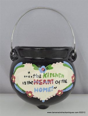 California Cleminson HP Kitchen Heart Home Black Pot Kettle Wall Pocket Vintage
