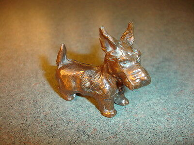 Old Vtg Collectible Bronze Scottie Dog very detailed with a cute face